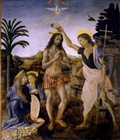 А. Вероккьо, Л. да Винчи.Крещение Христа.