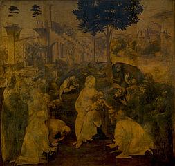 Леонардо да Винчи. Поклонение волхвов.